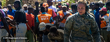 Armed Forces Woman Helping in with Relief in Haiti